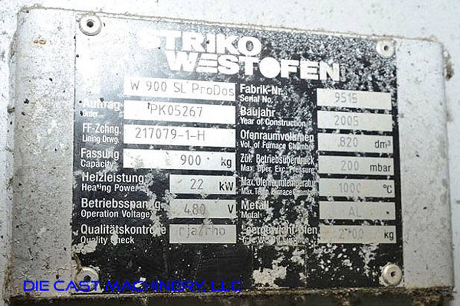 Image of Striko Westofen Model W 900 SL ProDos Low Energy Electric Heated Aluminum Holding and Dosing Furnace For Sale DCM-3237