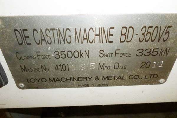 Picture of Toyo Machinery BD-350V5 Horizontal Cold Chamber Aluminum High Pressure Die Casting Machine For Sale DCMP-3662