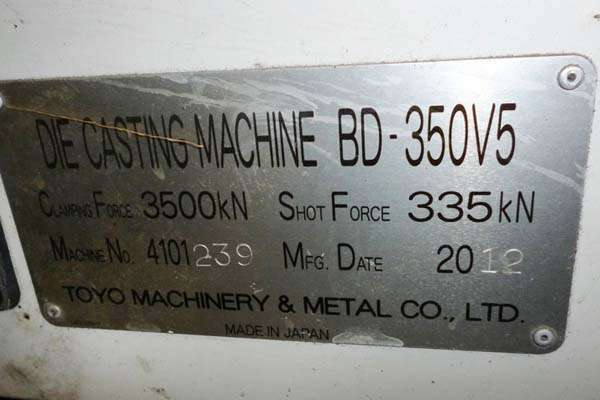 Picture of Toyo Machinery BD-350V5 Horizontal Cold Chamber Aluminum High Pressure Die Casting Machine For Sale DCMP-3664